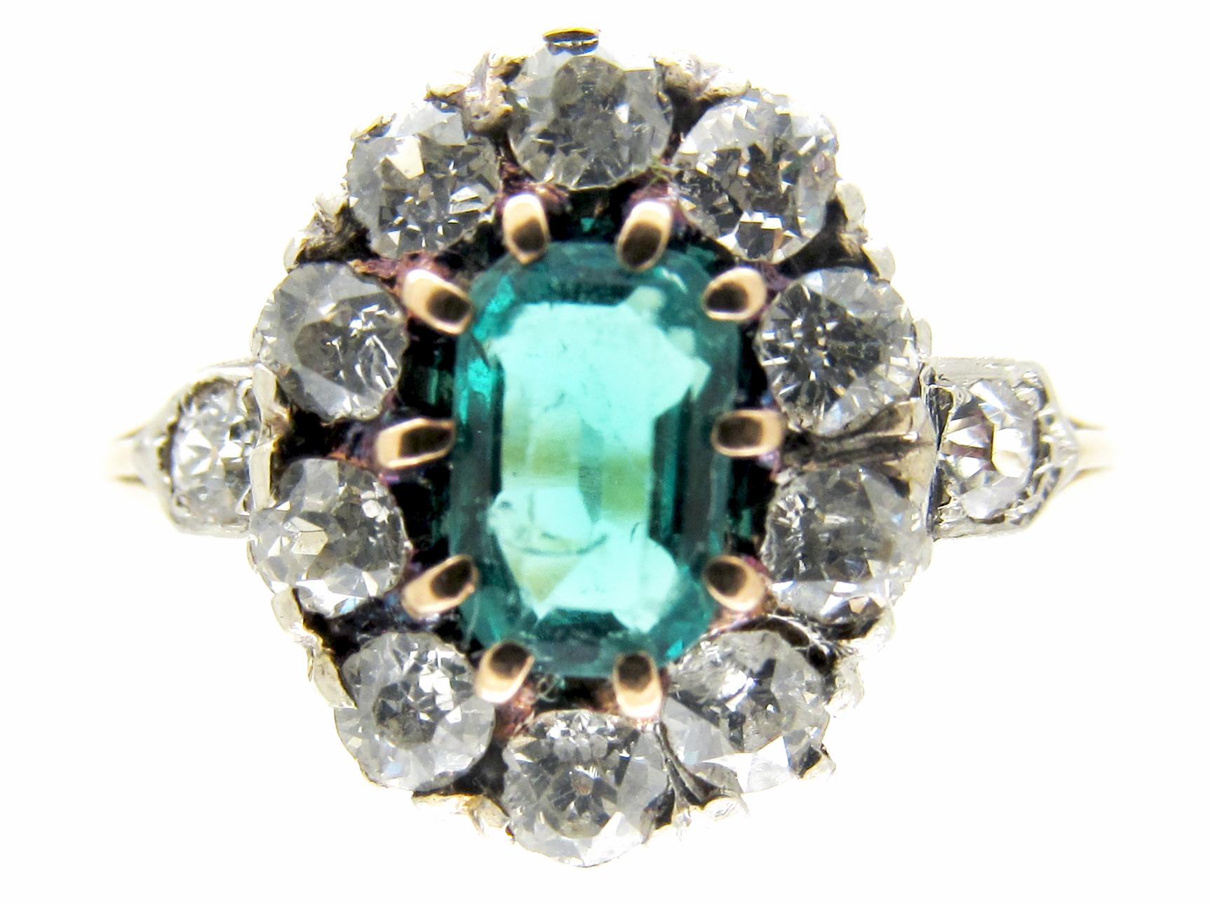 Emerald & Diamond Edwardian Cluster Ring
