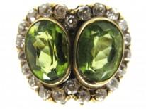 Double Heart Peridot & Diamond Ring
