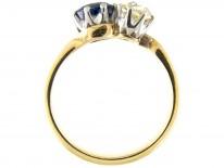 Sapphire & Diamond Crossover Ring