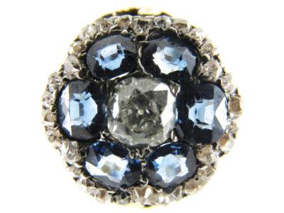 Sapphire & Diamond Edwardian Oval Cluster Ring