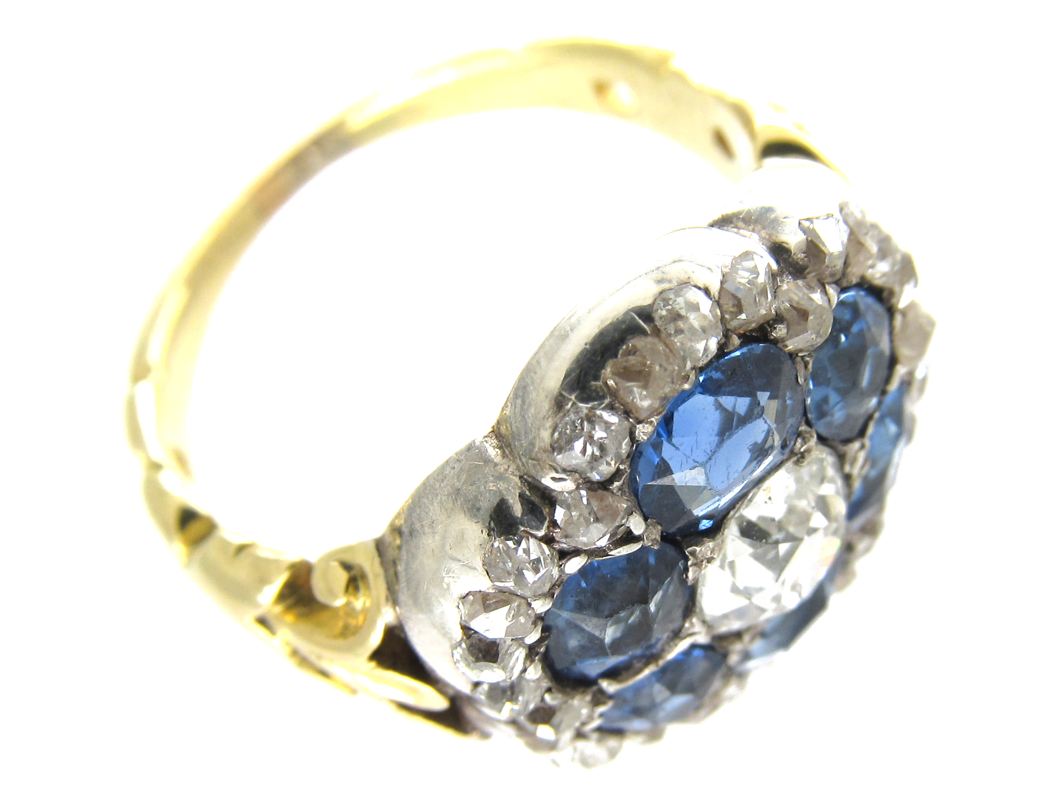 Large Victorian Rose Diamond & Sapphire Cluster Ring