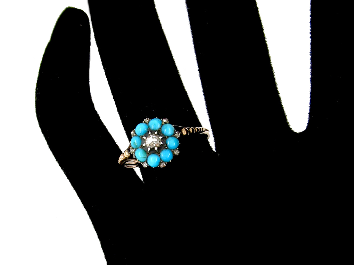 French Regency Turquoise & Diamond Cluster Ring