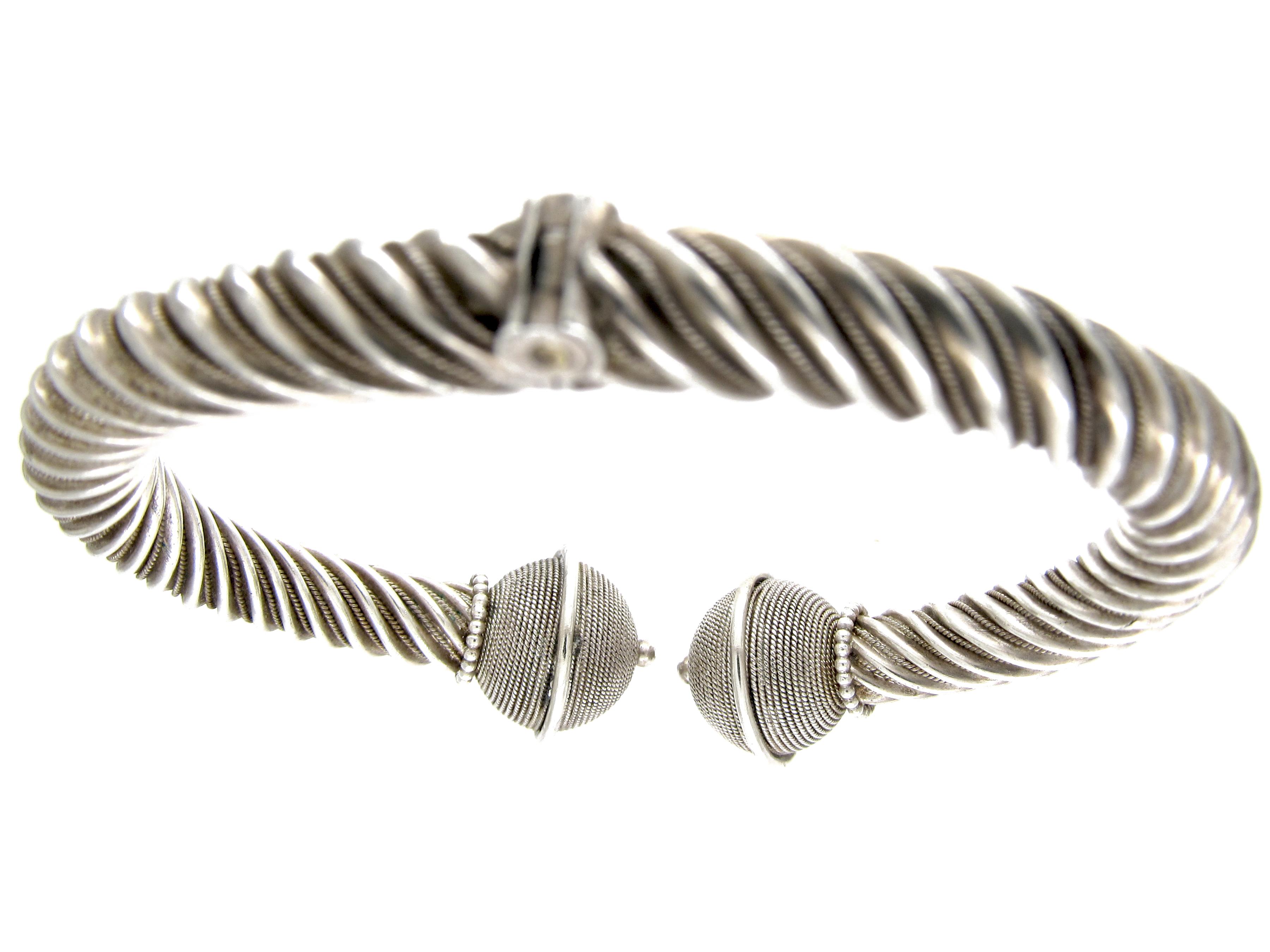 Silver Victorian Twist Bangle