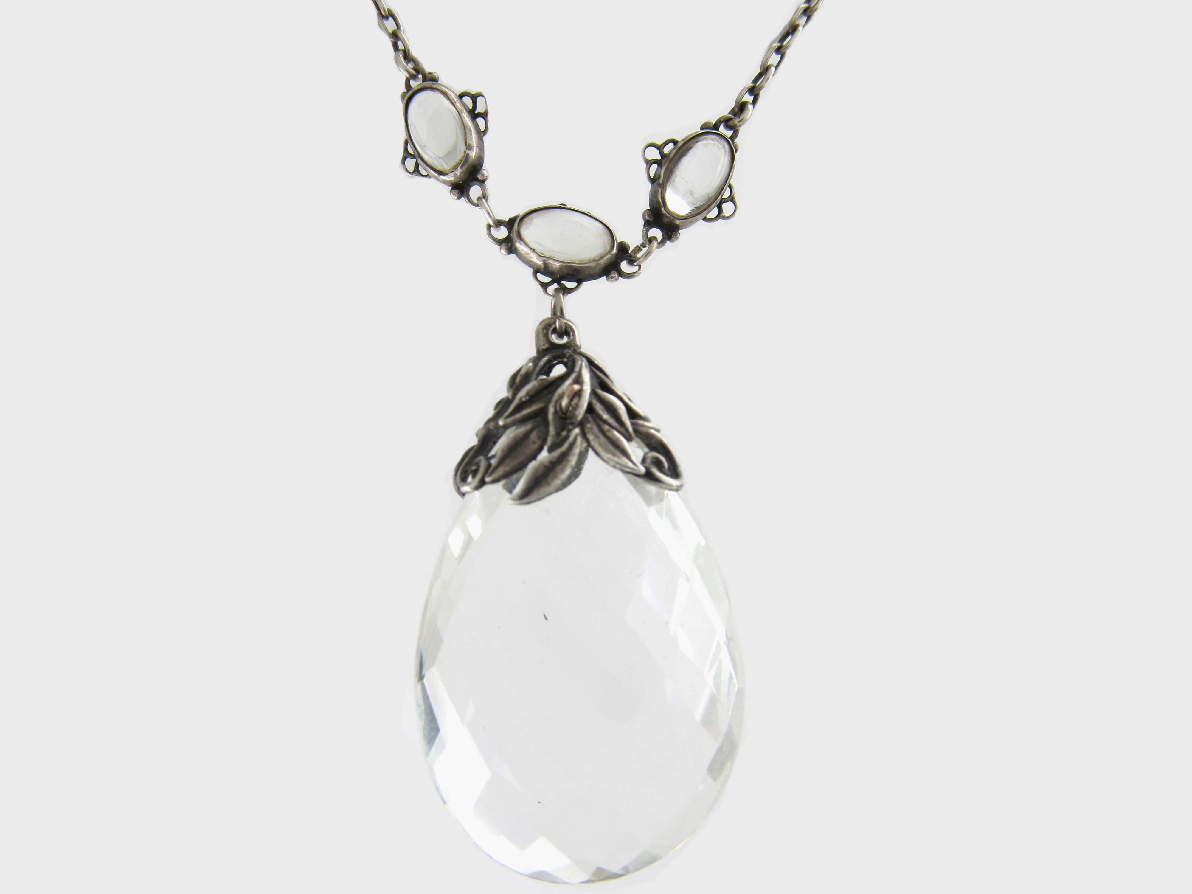 Arts & Crafts Rock Crystal & Silver Long Pendant Necklace by Bernard Instone