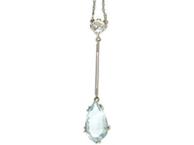 Art Deco Diamond & Aquamarine Pendant in Original Case