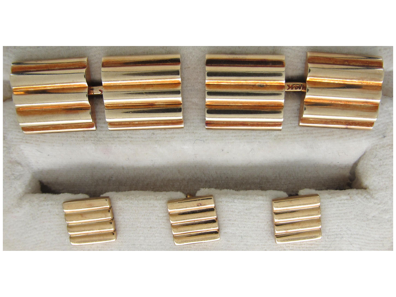 Tiffany & Co. 14ct Gold Cufflinks & Studs Set in Original Case