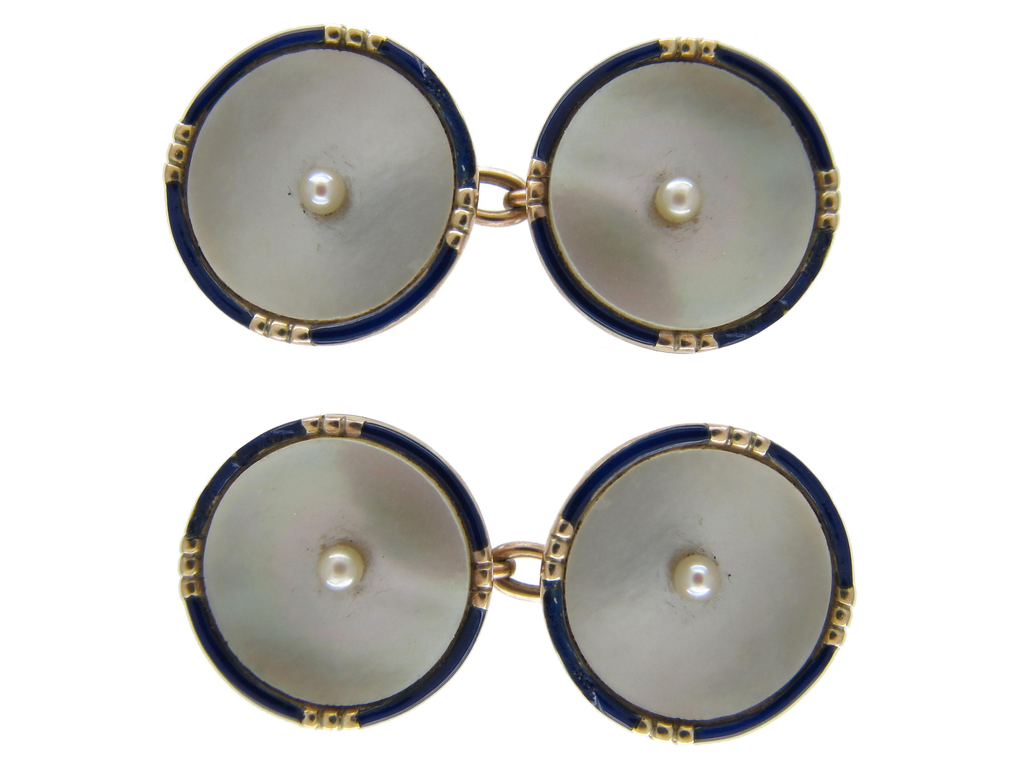 9ct Gold Mother of Pearl & Blue Enamel Cufflinks