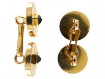 French Art Deco 18ct gold Cufflinks set with Sapphires