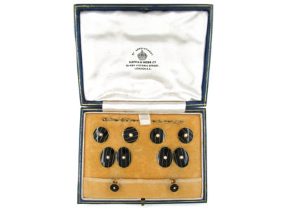 18ct Gold & Black Enamel & Pearl Art Deco Cufflinks, Buttons & Studs in Original Case