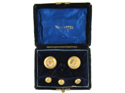 Victorian Silver Gilt Studs in Original Case