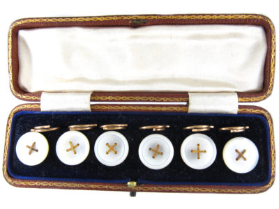 Edwardian 18ct Gold Buttons in Original Case