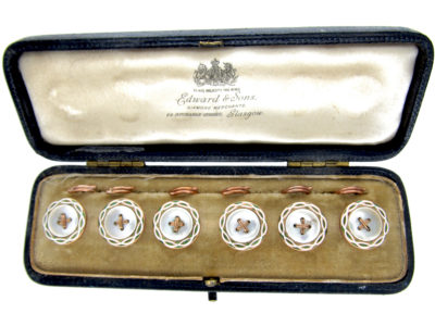 Set of Six Gold & Enamel Buttons in Original Case