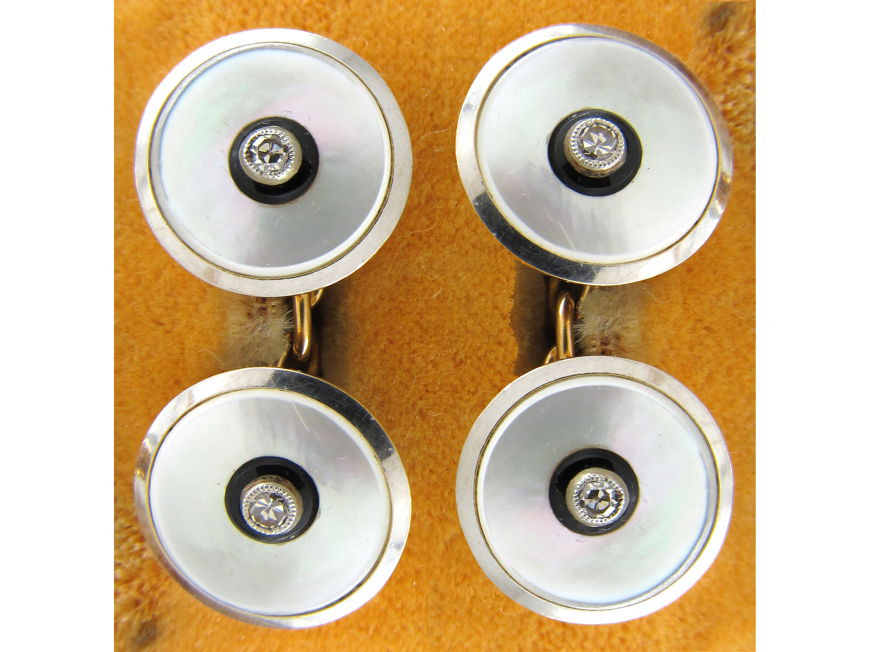 18ct & Platinum Diamond Set Cufflinks & Studs in Original Mappin & Webb Case