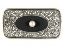 Art Deco Silver Marcasite, Onyx & Pearl Brooch