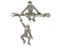 Monkey Silver & Paste Brooch