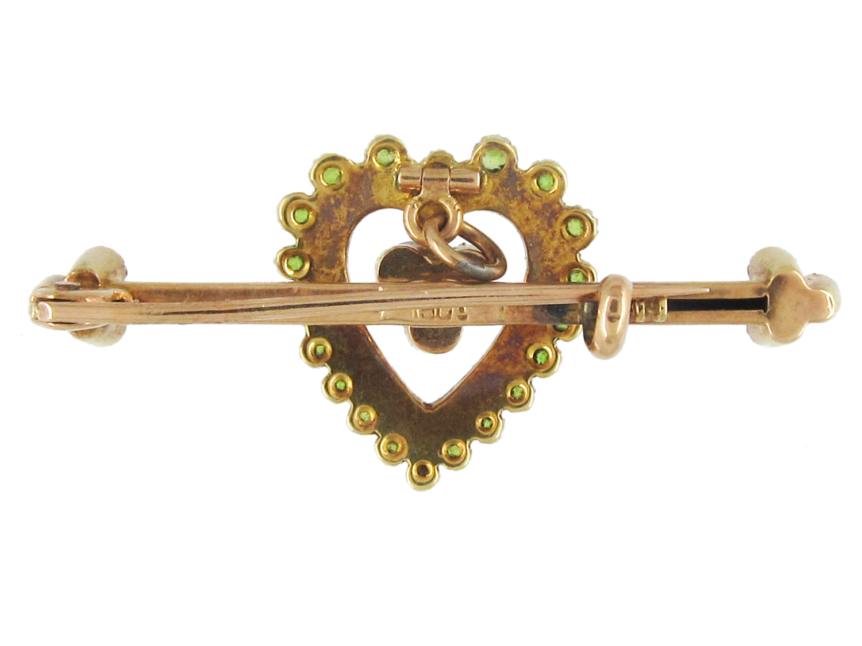 Edwardian 15ct Gold, Green Garnet & Natural Split Pearl Heart Brooch