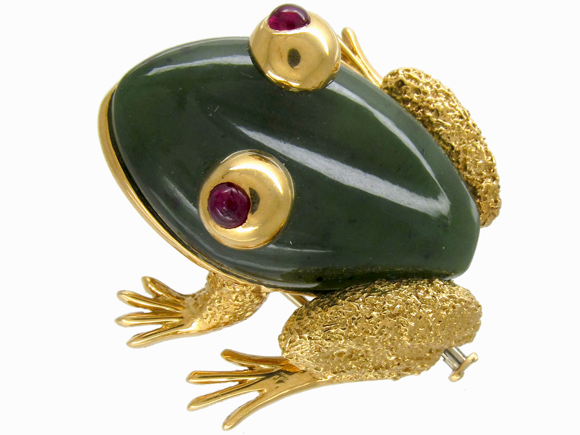 Nephrite Jade & Ruby Frog Brooch