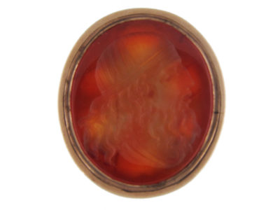 Large 9ct Gold Cased Georgian Seal with Carnelian Intaglio of a Greek Scholar