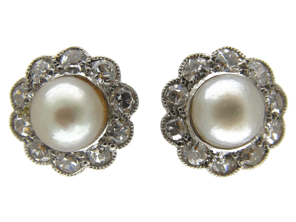 Diamond & Natural Pearl Earrings
