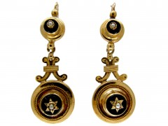 Victorian 18ct Gold & Onyx Drop Earrings