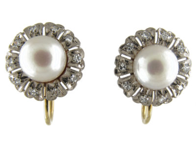 Pearl ​& Diamond Cluster Earrings