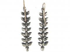 Georgian Silver & Paste Drop Leaf Motif Earrings