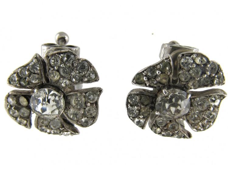 Silver & Paste Flower Clip on Earrings