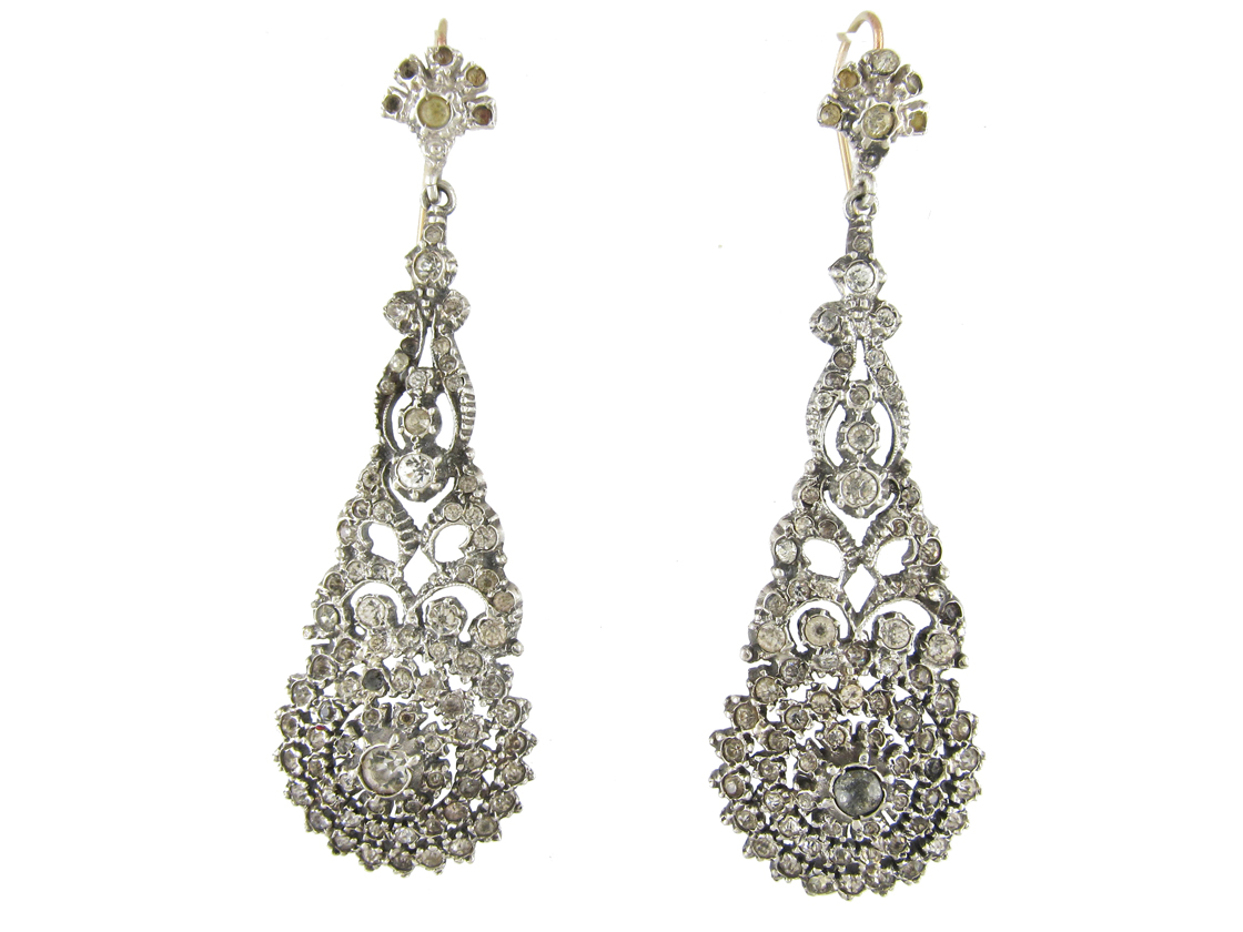 Long Drop Silver & Paste Edwardian Earrings