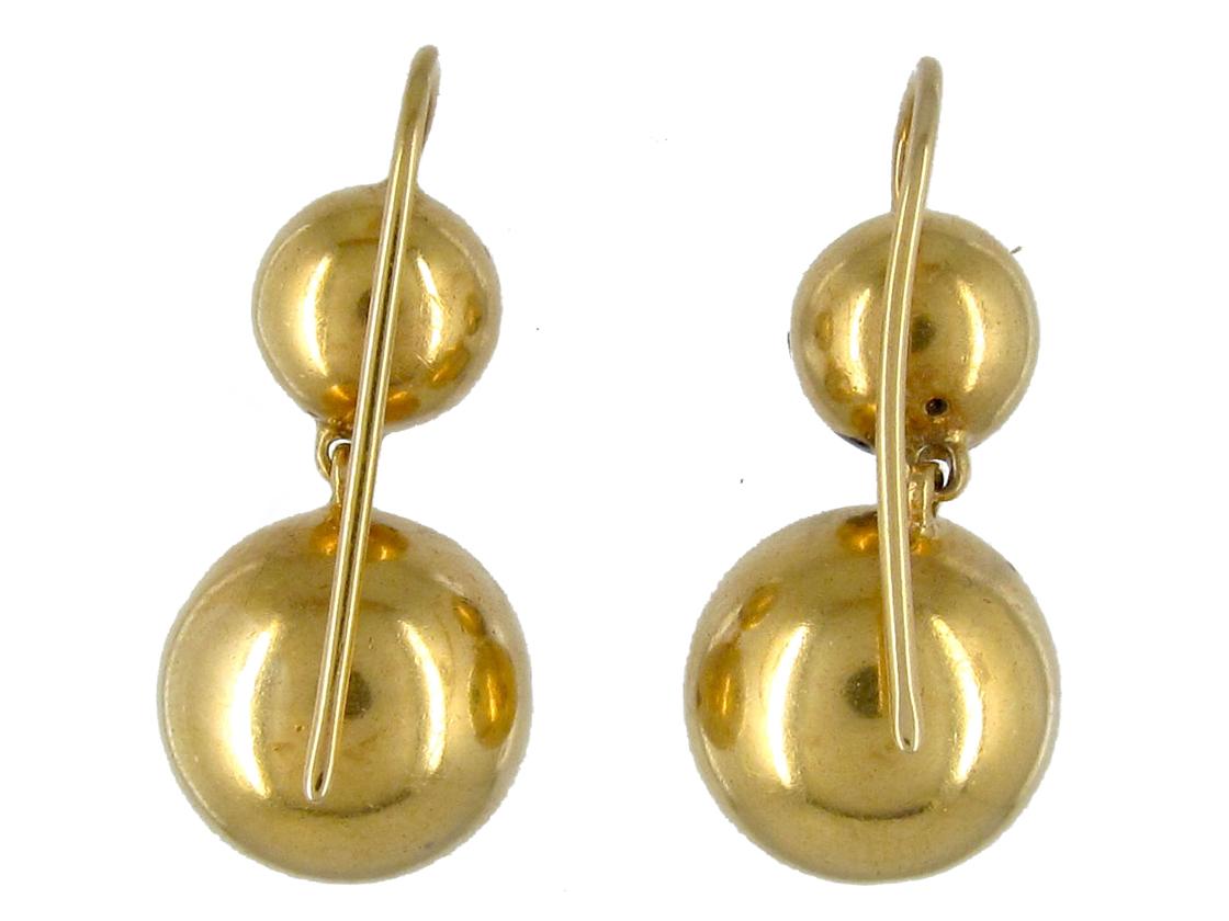 Victorian Ball & Star 18ct Gold Drop Earrings