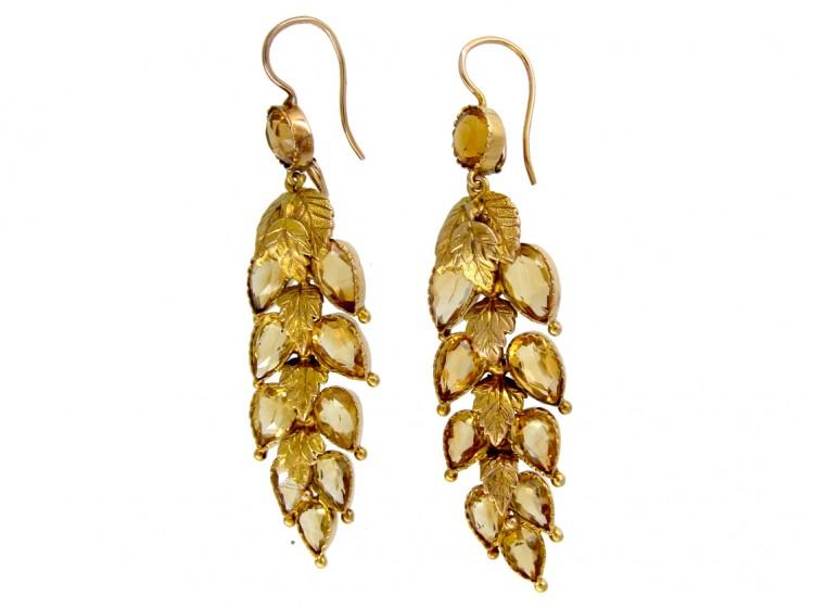 Georgian Gold Citrine Leaf Drop Earrings