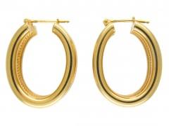 9ct Gold Oval Hoop Earrings