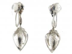 Silver, Marcasite & Blue enamel Art Deco Drop Earrings
