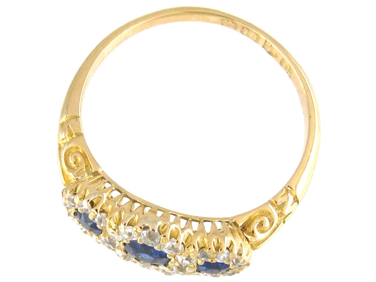Edwardian Triple Cluster Sapphire & Diamond Ring