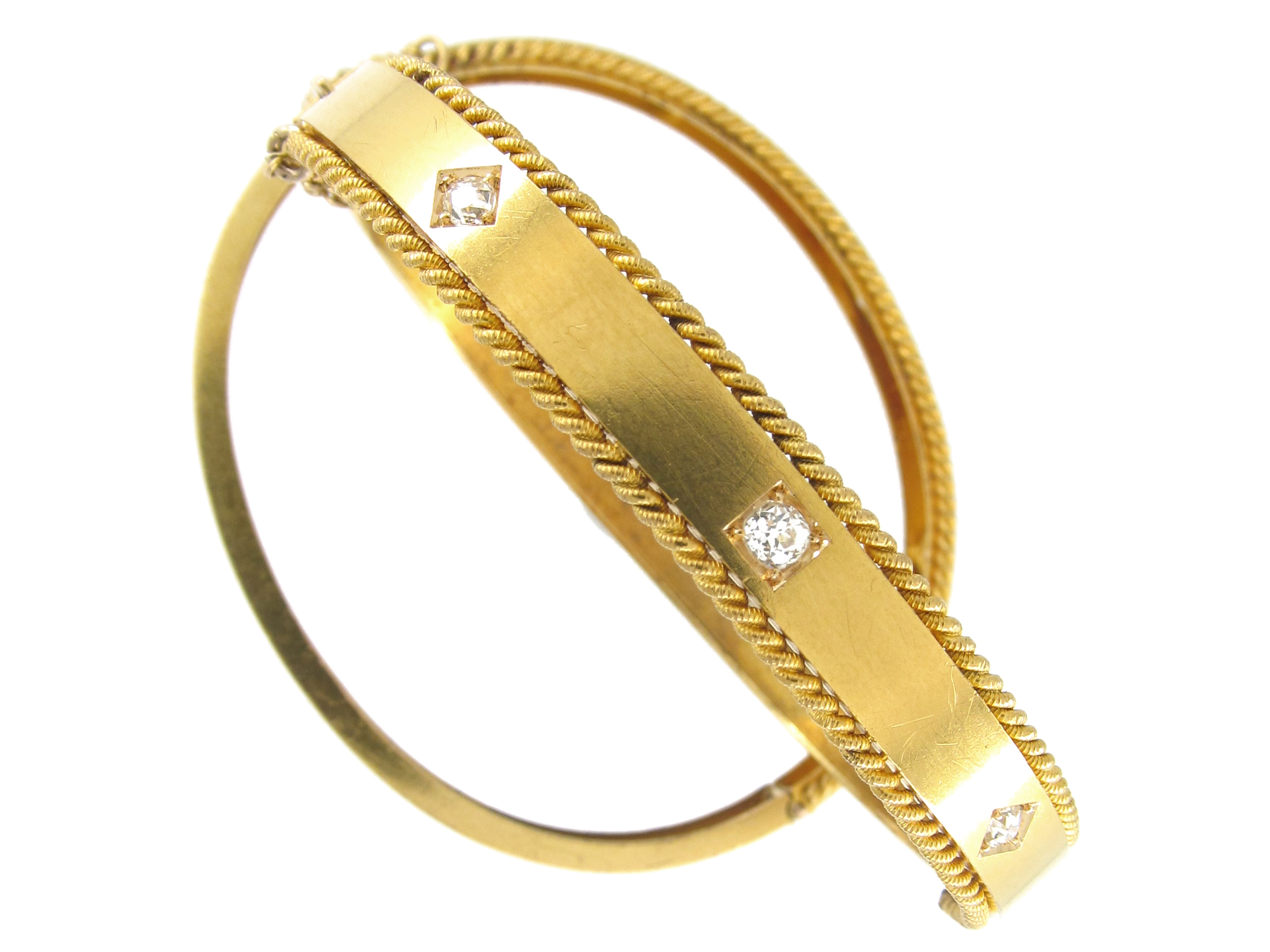 Pair of Gold Victorian Diamond Set Bangles in Original Case