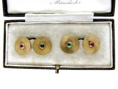 Art Deco Gold, Ruby & Emerald Round Cufflinks of Spiral Design