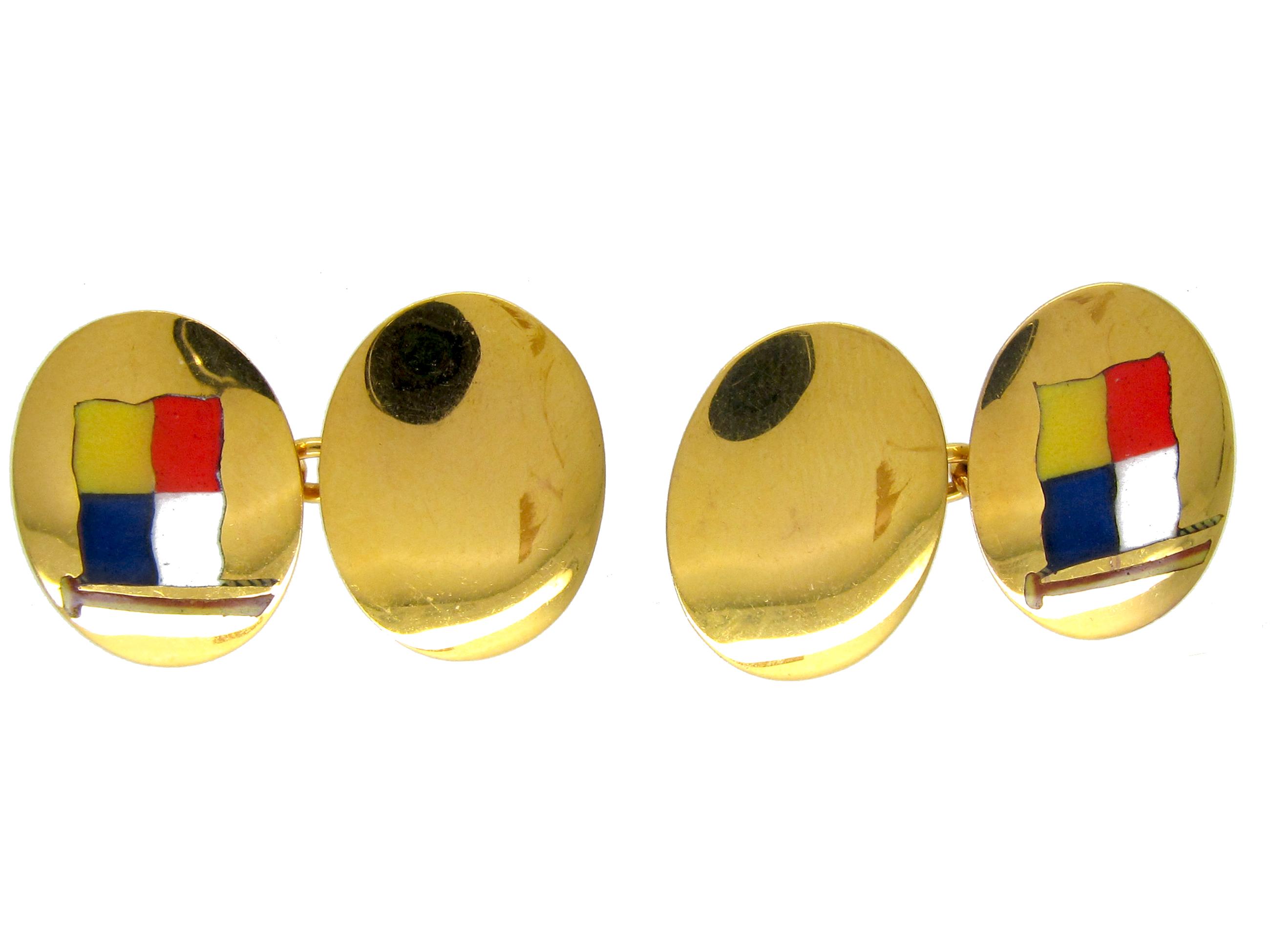 Gold & Enamel Nautical Flag Oval Cufflinks