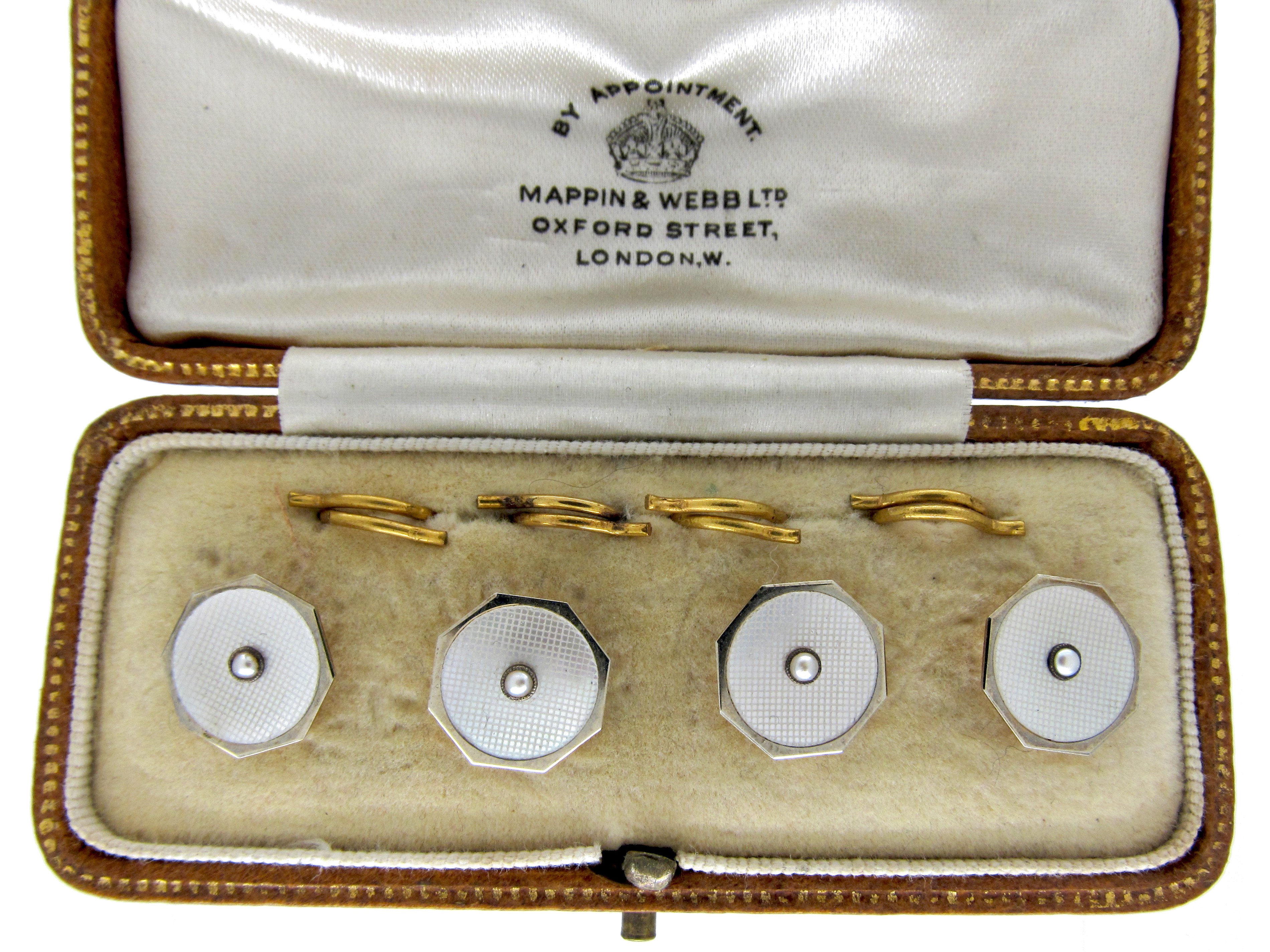 Set of Four 9ct Yellow & White Gold Buttons in Case
