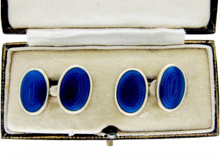 Blue & White Enamel 18ct Gold Cufflinks