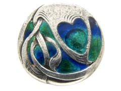Liberty & Co. Enamel & Silver Button by Archibald Knox