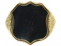 Shield Shaped Gold & Bloodstone Signet Ring