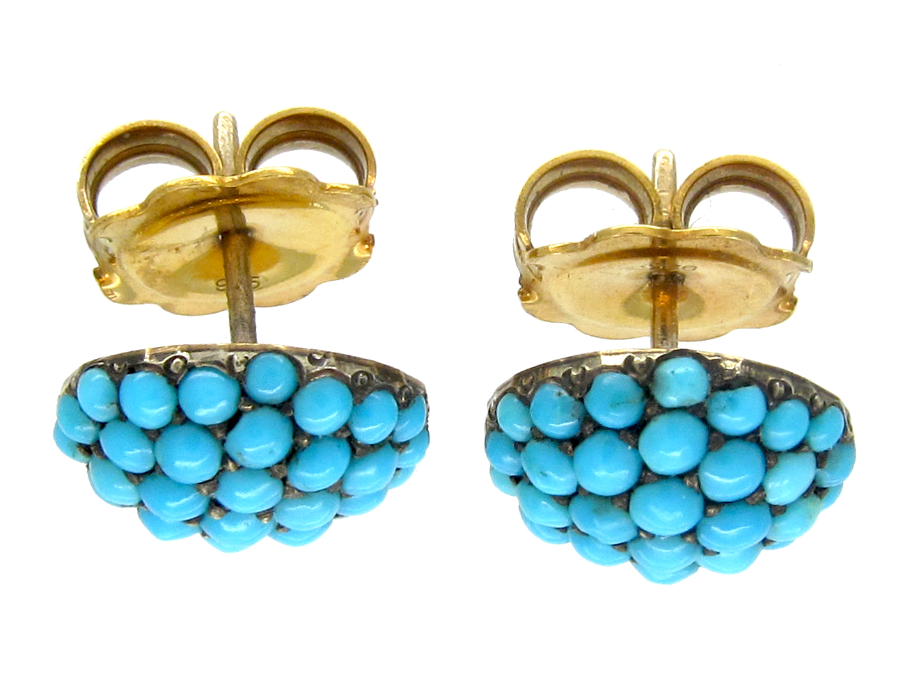 Edwardian Turquoise & Gold Button Earstuds