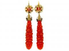 Carved Coral Regency Drop Earrings
