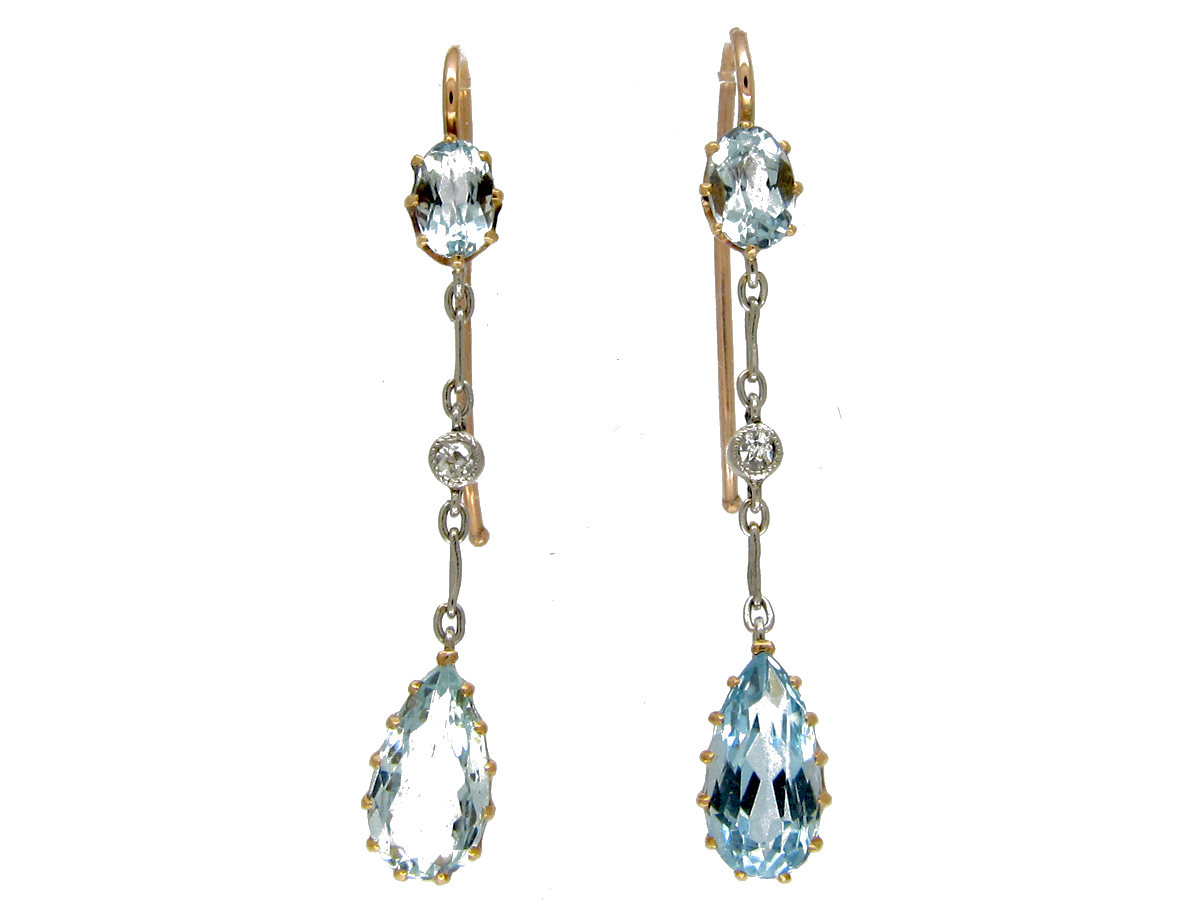 Aquamarine, Diamond & Platinum Edwardian Drop Earrings