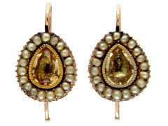 Georgian Gold Foiled Citrine & Pearl Earrings