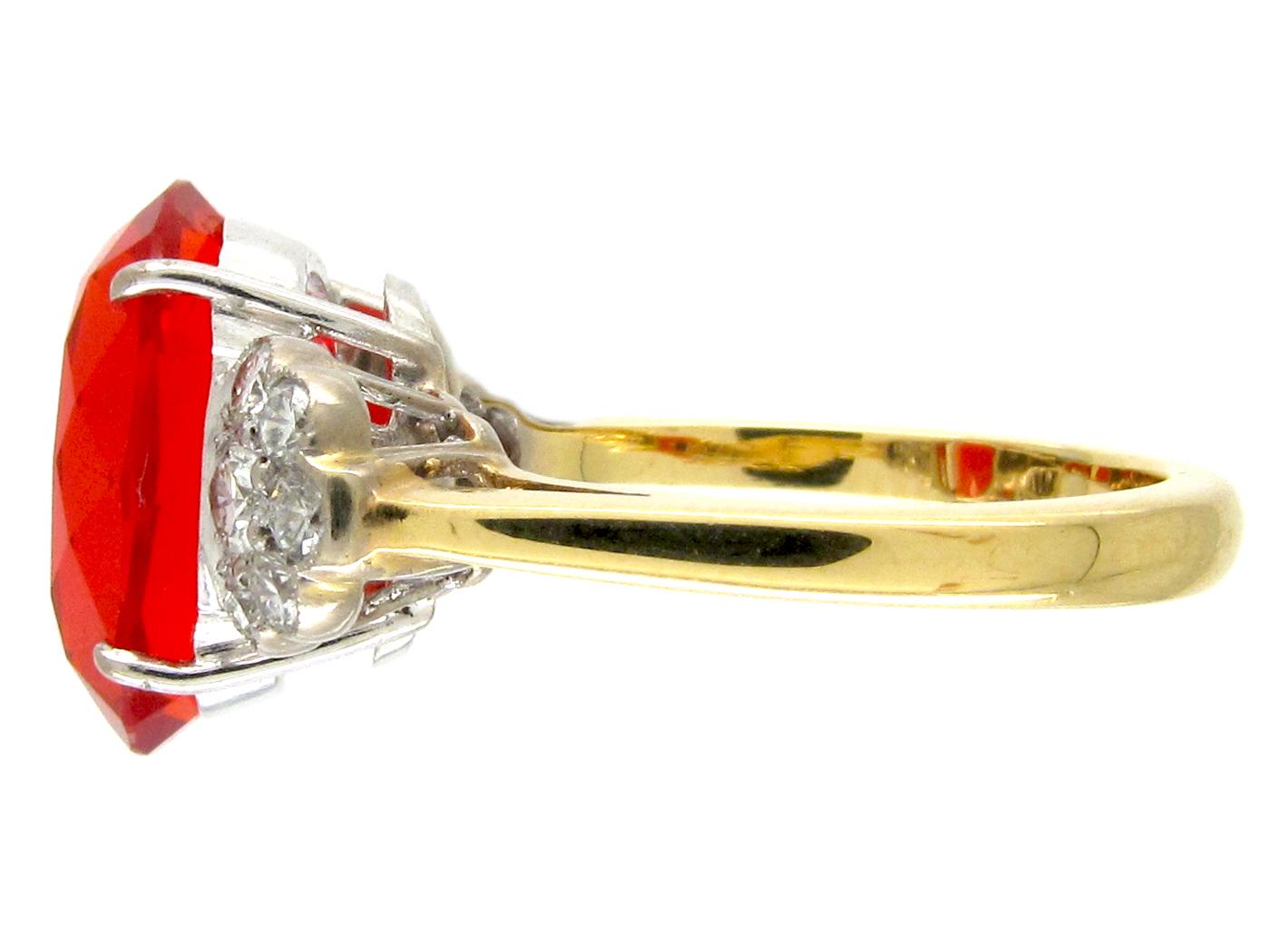 Diamond & Fire Opal 18ct Gold & Platinum Ring