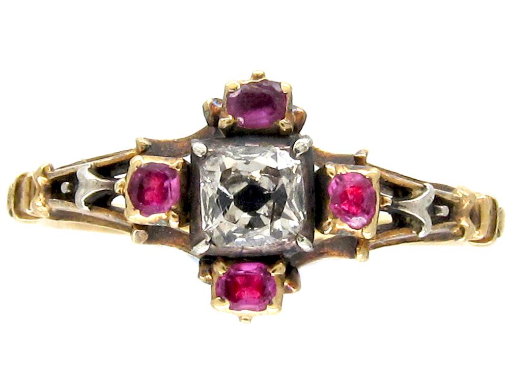 Georgian Mine Cut Ruby & Diamond Ring