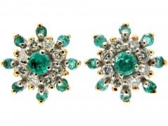 Emerald & Diamond Cluster Earrings