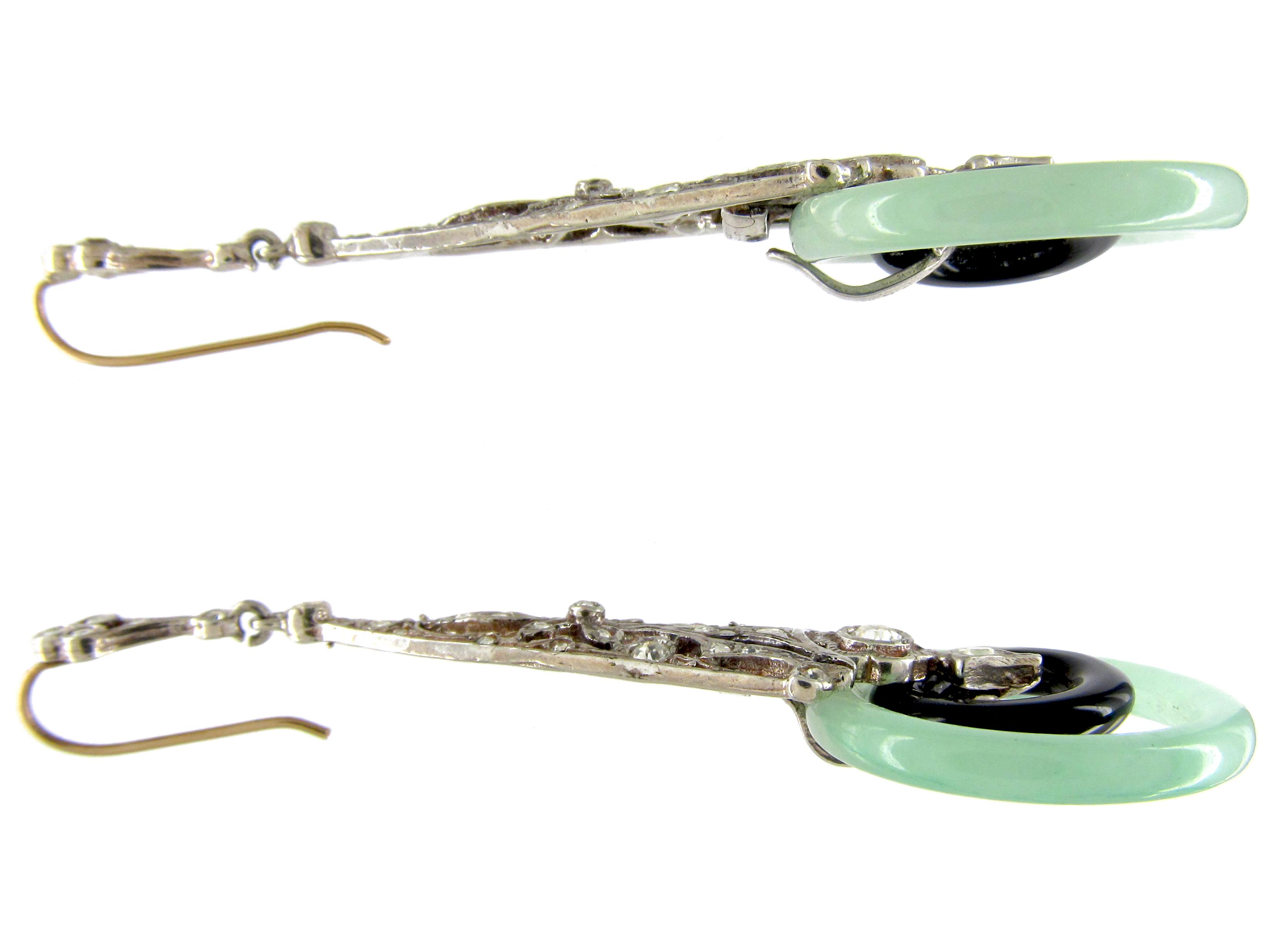 Art Deco Silver, Paste, Jade & Onyx Drop Earrings