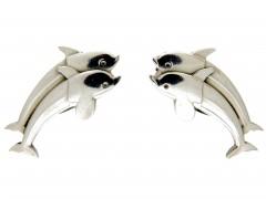 Georg Jensen Silver Dolphin Earrings