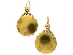 Ruby & Diamond 15ct Gold Victorian Earrings